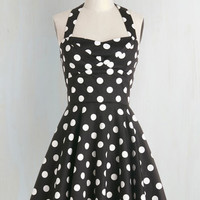 50s Short Length Halter Fit & Flare Traveling Cupcake Truck Dress in Black by ModCloth