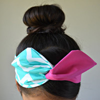 Tiffany Blue Dolly bow headband, hair bow head band