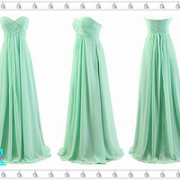 Mint Bridesmaid Dress - Long Bridesmaid Dresses, Mint Prom/Evening Dress, Long Chiffon Mint Dresses, Juniors Long Party Dress, Prom Dress