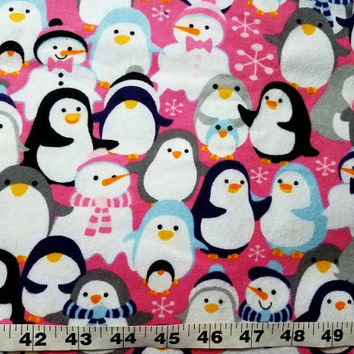 Winter Flannel fabric with penguins snowman cotton print quilt sewing material craft project BTY  by the yard flannel penguin fabric snowmen