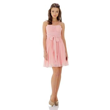 Short Sleeveless Chiffon Bridesmaid Dress Blush Illusion Neck