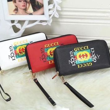 DCCK Gucci' Women Wristlet Purse Personality Fashion Graffiti Letter Logo Print Long Section Double Zip Multifunction Wallet Clutch