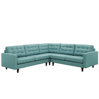 Empress 3 Piece Fabric Sectional Sofa Set in Laguna