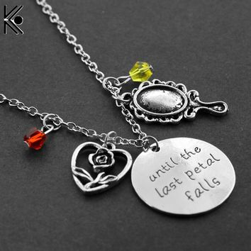 Rose Pendant Necklace Beauty and Beast Mirror with Crystal Charm Bracelets Beads