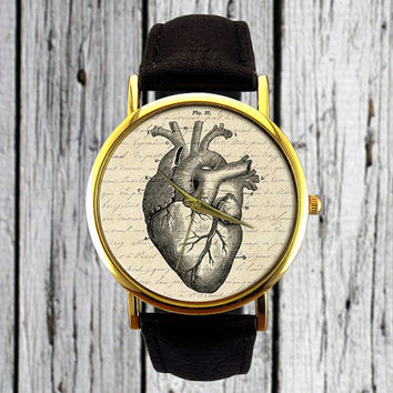 Vintage Heart Watch | Leather Watch | Ladies Watch | Womens Watch| Men's Watch | Gift for Her | Gift Idea | Custom Watch | Fashion Accessory