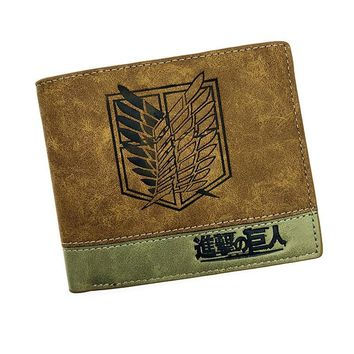 Cool Attack on Titan Japanese Anime Poke/ Death Note/ / One Piece/ Game OW Short Wallet With Coin Pocket Zipper Poucht Billetera AT_90_11