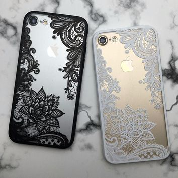 Lotus Lace Flower Mandala Clear Case For iPhone 7 6 6S Plus Vintage Back Phone Capa Back Cover For iPhone 6 7 6S Plus