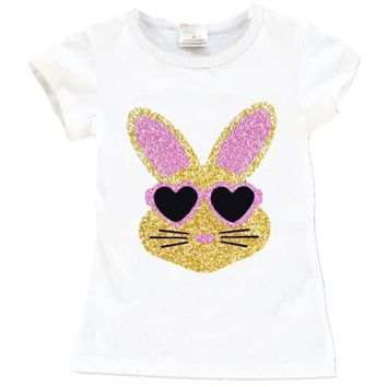 White Gold Pink Bunny Shirt Sparkle Glasses