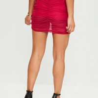 Missguided - Red Ruched Mini Skirt