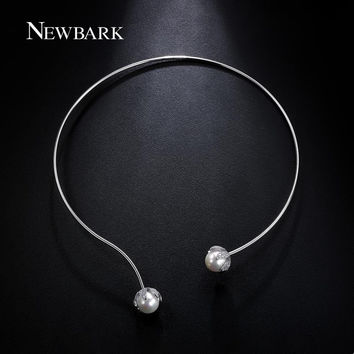 NEWBARK New Arrival Torques Necklace Women Silver Color With 2 Imitation Pearls CZ Choker Collar Jewelry