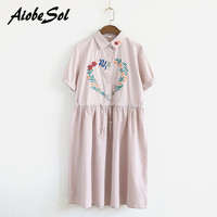 Japanese Mori Girl Dress Summer Latest Women Preppy Vintage Short Sleeve Flower Embroidery Single Breasted Cotton Linen Dress