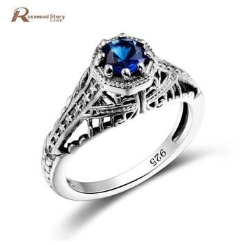 Classical Fine Jewelry Princess Cut Round Blue Stone Wedding Ring Real 925 Sterling Silver CZ Women Vintage Engagement Rings
