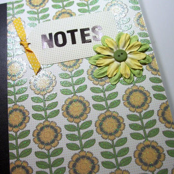 Altered Composition Book, Blank Book, Journal, Notebook, Bound Book, Composition Notebook, Book, Sunflower