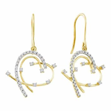 14kt Yellow Gold Womens Round Diamond Wire Heart Dangle Earrings 1-3 Cttw - FREE Shipping (US/CAN)
