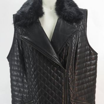 Talbots Black Leather Moto Vest with Detachable Faux Fur Collar Sz Plus 1X