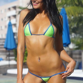 Solid Neon Green Sexy Mini Micro G-String Thong Bikini Extreme USA Made w/ Blue