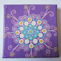 Purple Lilac Mandala Dot Painting, Mini Small art Painting, Hand Painted mandala, Dot Art Acrylic Canvas, Dotillism mandala wall decor