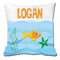 Personalized Boys Underwater Fish Ocean Sea Life Pillow Sham Cushion Cover Name Pillowcase Bedroom Kids Toddler  ANY Color Stripes