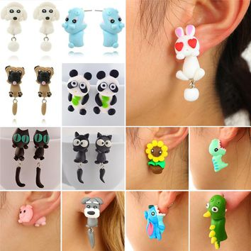 New 100% Handmade Polymer Clay Animal Earrings Cute Cat Red Fox Lovely Panda Squirrel Tiger Stud Earrings For Women Jewelry