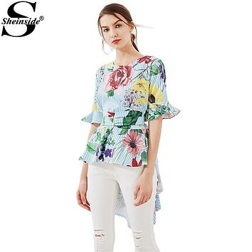 Sheinside Tropical Hi-Lo Blouse Ruffle Tie Back Tops 2017 Women Random Print Elegant Summer Tops New Cute Casual Peplum Blouse