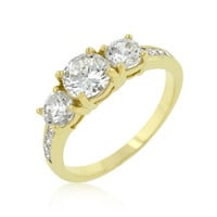 Triplet Golden Wedding Ring, size : 08