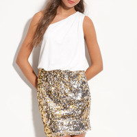 Way-In Sequin Skirt One Shoulder Dress (Juniors) | Nordstrom
