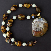 Large Ammonite Fossil Pendant with Faceted Tiger Eye Nuggets and Vintage Agate Earthy Rustic Gemstone Jewelry