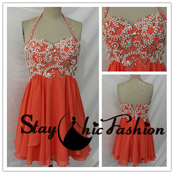Coral Short Crystal Stones Beaded Top Halter Flowy Homecoming Dress