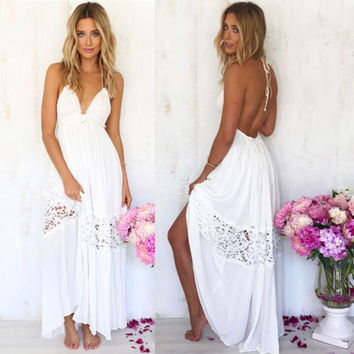 White Halter Backless Maxi Dress with Crochet Lace Decor