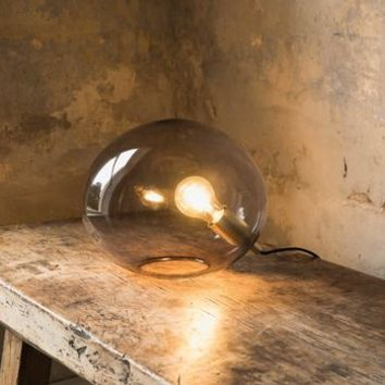 Ostuni Grey Glass Globe Table Lamp