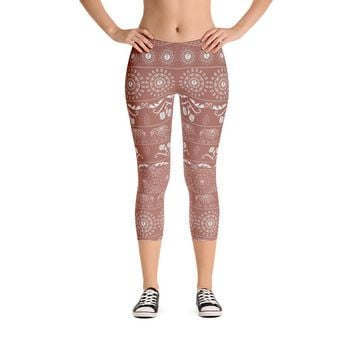 Elephant Mandala in Copper Capri Leggings