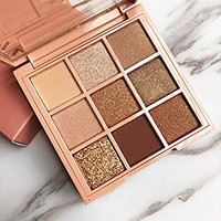 Taykoo Eyeshadow Palette Makeup Cosmetics Diamond Glitter Metallic 9 Color Nude Creamy Pigmented Professional Mini Shadow Kit