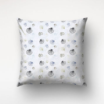 Seashell Pillow Case, Graphic Pattern, Beach Decor, Sofa Throws
