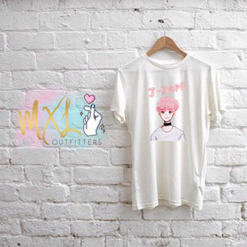 BTS YNWA watercolor pink J-Hope T-Shirt (Design by Yoomint)