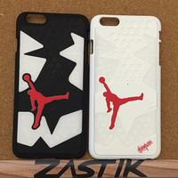 2 Piece Nike Air Jordan XI 11 Space Jam Bred Iphone 5 5S 6 6 Plus Phone Case Cover Shoe Rubber Silicone Sole Sneaker Gift Mobile Accessories