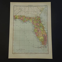 FLORIDA antique map of Florida state USA - 1879 original old map of FL Key West Miami Jacksonville poster about Pensacola county borders
