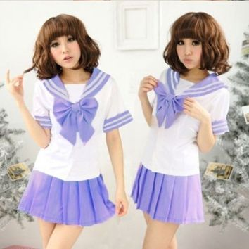 7 Colors Japanese Anime Sailor Style Student School Girl Costume Uniforms Dress QEA