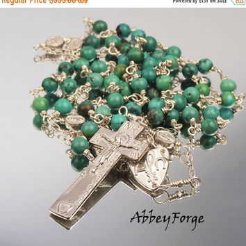 On Sale Sterling Silver & Turquoise Gemstone Rosary: Irish Penal Cross Crucifix Alpha Omega Center Miraculous Pater Bead Stations Heirloom Q