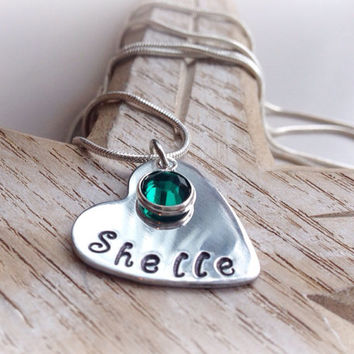 Hand stamped personalised heart name necklace