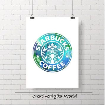 Starbucks Coffe Logo Printable Instant Download Paint Drawing Glow Sparkle Galaxy Colors Splatter Watercolor Print Home Decor Wall Art Gift