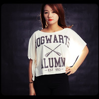Hogwarts Alumni, Off the Shoulder Shirt, Wide Style, Harry Potter Shirt, Off White Cream Tee Shirts