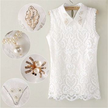 Plus Size S-2XL Summer 2016 blusa renda Women Blouse Sleeveless Lace Shirt Embroidery Organza Beading Vest Tops White T5434