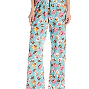 Intimo Women's Coffee Donut Print Knit Pajama Pant, Coffee, Medium