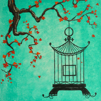 Asian Inspired Cherry Blossom Bird Cage Original Painting