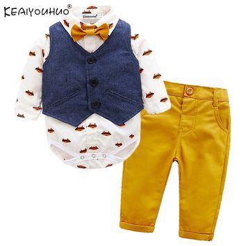 Winter Baby Boy Clothes Sets Gentleman Suits Rompers+Jeans 2 Pcs Long Sleeve Infant Clothing Baby Clothes Sets Christening Gowns