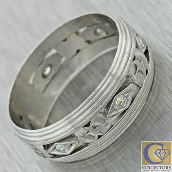 1940s Antique Art Deco Estate Platinum Diamond 8mm Mens Wedding Band Ring