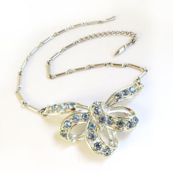 Vintage Coro Blue Ribbon Rhinestone Necklace, Bow Necklace, Bib Necklace, Sky Blue, Light