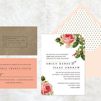 Rustic Vintage Rose Wedding Invitation, Romantic Blush Floral