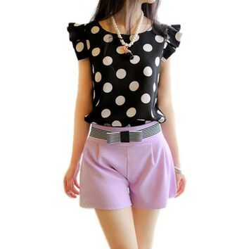 Summer Women Polka Dot Casual Tee Shirt Ruffled Shirt Tops Slim Fit Newest