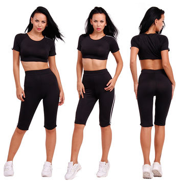 Scoop Crop Top 1/2 Skinny Pants Sexy Two Pieces Set